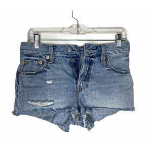 Levis 501 Button Front Frayed Denim Shorts